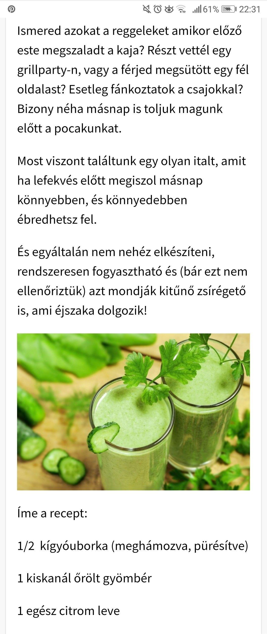 zsírégető ital petrezselyemmel